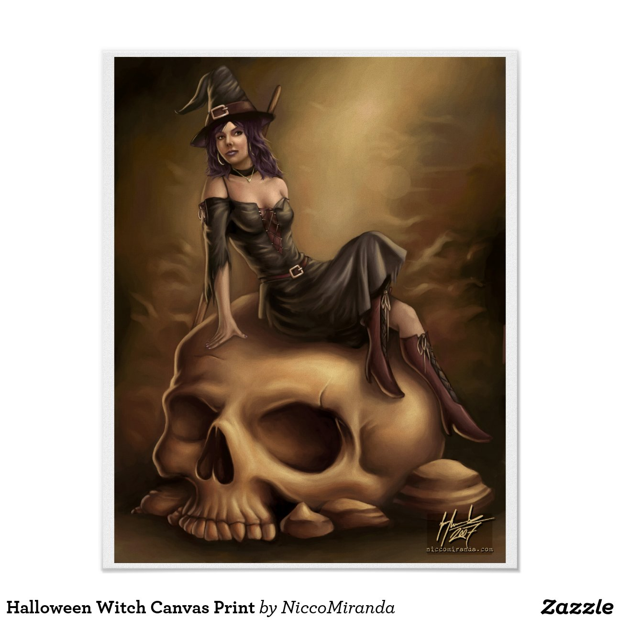 halloween hexe leinwand druck poster zazzle. Black Bedroom Furniture Sets. Home Design Ideas