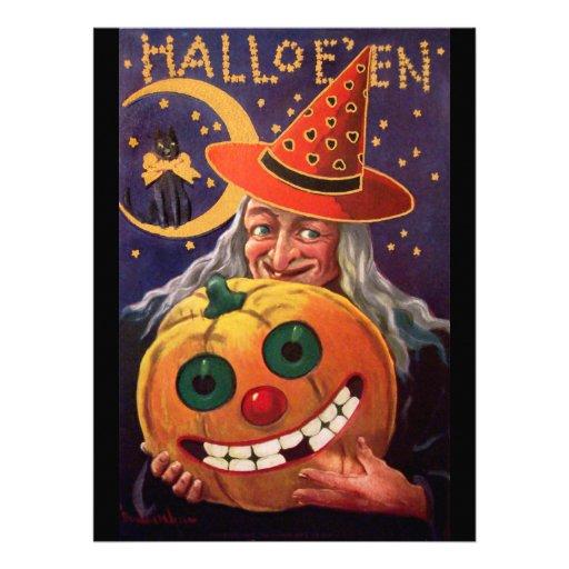 Halloween-Hexe mit lustigem Kürbis Ankündigungen