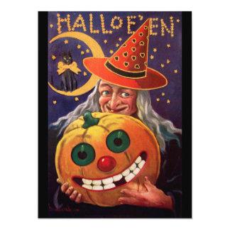 Halloween-Hexe mit lustigem Kürbis 16,5 X 22,2 Cm Einladungskarte