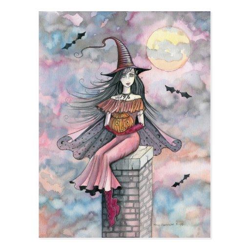 Halloween-Hexe-Postkarte