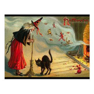Halloween-Hexe-Postkarte, schwarze Katze, Besen, Postkarte