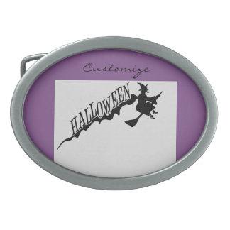 Halloween-Hexe-Reitbesen Thunder_Cove Ovale Gürtelschnalle