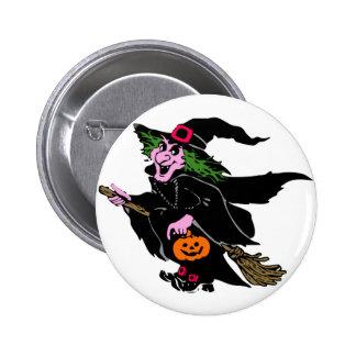 Halloween-Hexe Runder Button 5,7 Cm