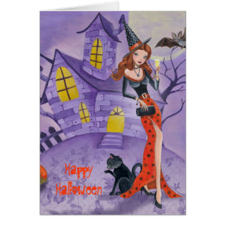 Halloween-Hexe - Saisongrußkarte Karte