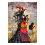Halloween-Hexe-schwarze Grußkarte