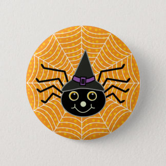 Halloween-Hexe-Spinnen-Orange Runder Button 5,7 Cm