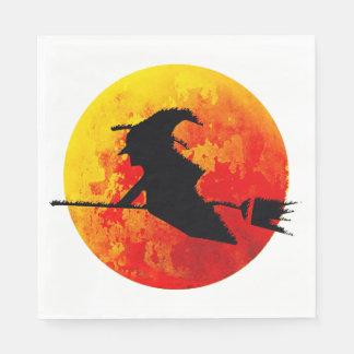 Halloween-Hexe und der Blut-Mond Papierserviette