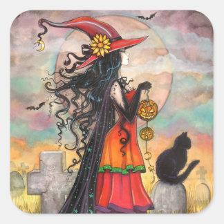 Halloween-Hexe-und schwarze Katzen-Aufkleber Quadratischer Aufkleber