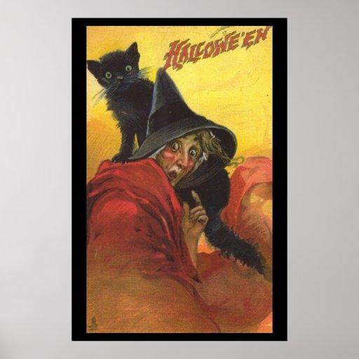 Halloween-Hexe und schwarze Katzen-Plakat