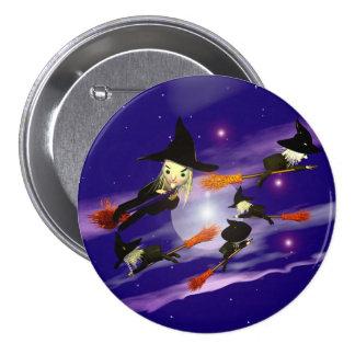 Halloween-Hexe-Verkehr Runder Button 7,6 Cm