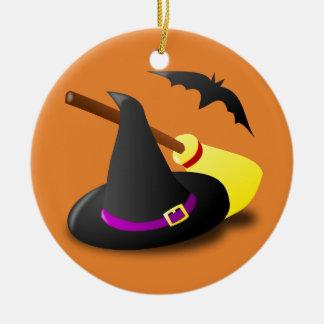 Halloween-Hexehutbesen und -schläger Keramik Ornament
