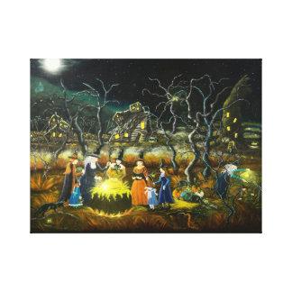 Halloween-Hexen um einen großen Kessel Leinwanddruck