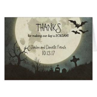 Halloween-Hochzeit danken Ihnen, mit Mond zu Karte