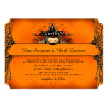 Halloween-Hochzeit laden - orange u. schwarze 12,7 X 17,8 Cm Einladungskarte