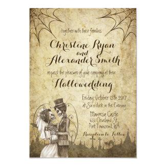 Halloween-Hochzeits-Einladung mit Skeleton Paaren Karte