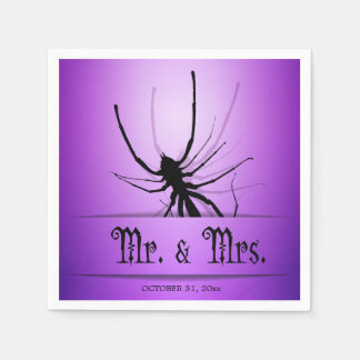 Halloween-Hochzeits-Servietten mit lila Spinne Papierserviette