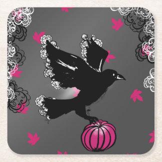 Halloween-Illustration eines Raben und des Rechteckiger Pappuntersetzer