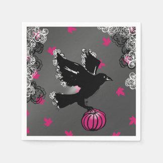 Halloween-Illustration mit Raben und Kürbis Papierserviette