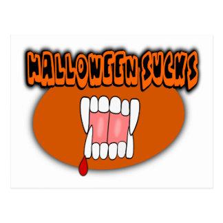 Halloween ist zum Kotzen mit Vampire-Reißzähnen, Postkarte