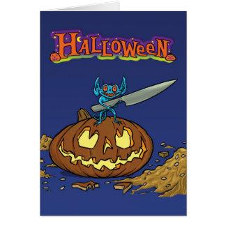 Halloween-Karte mit Kobold üben ein Messer und Grußkarte