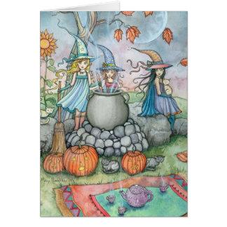 Halloween-Karten-Hexe-Katzen-Tee-Party-Spaß Karte
