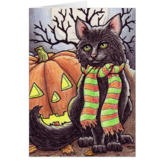 Halloween-Katze notecard Karte