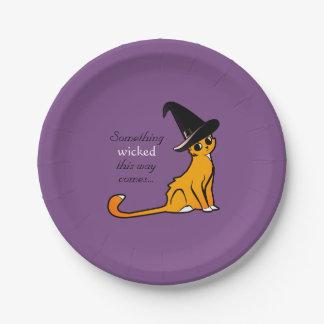 Halloween-Katzen-Hexe - Teller