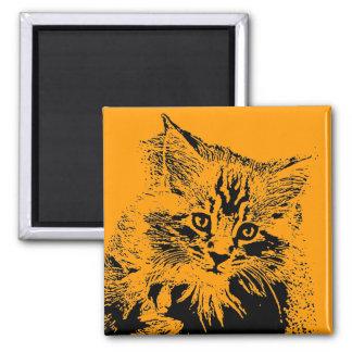 Halloween-Katzenmagnet Quadratischer Magnet