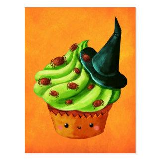 Halloween-kleiner Kuchen voll der kleinen Spinnen Postkarte