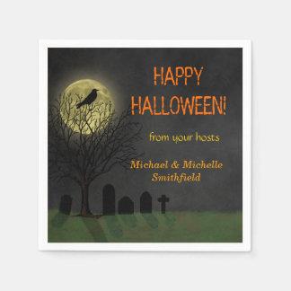 Halloween-Krähe auf Baum mit Mond-Party Servietten