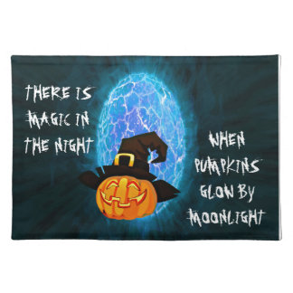 Halloween-Kürbis durch Mondschein Tischset