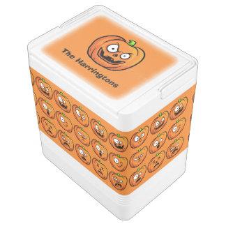 Halloween-Kürbis-individueller Name cooler Igloo Kühlbox