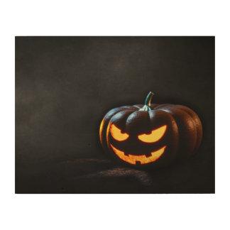 Halloween-Kürbis-Kürbislaterne gespenstisch Holzdruck