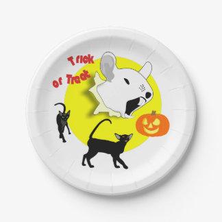 Halloween-Kürbis-Maus und Katzen Pappteller 17,8 Cm