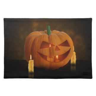 Halloween-Kürbis mit Kerzen - Stoff-Tischset Tischset