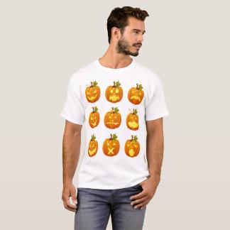 Halloween-Kürbis Multi-Gesichter emoji T-Shirt