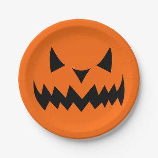 Halloween-Kürbislaterne-Kürbis-schlechtes Gesicht Pappteller