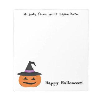 Halloween-Kürbislaterne mit Hexehut Notizblock