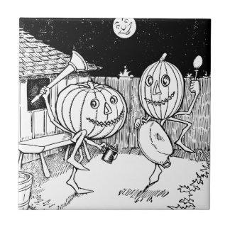 Halloween-Kürbislaternetanz Fliese