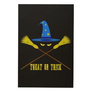 Halloween-Leckerei oder Trick-Schwarzes Holzleinwand