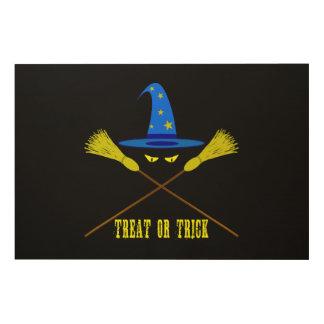 Halloween-Leckerei oder Trick-Schwarzes Holzwanddeko