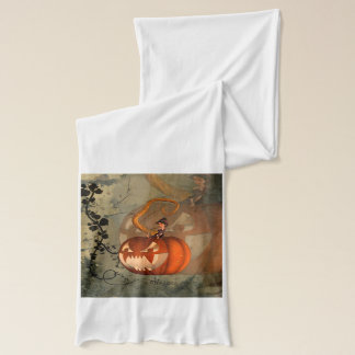 Halloween, lustiger Kürbis mit niedlicher Hexe Schal