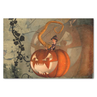 Halloween, lustiger Kürbis mit niedlicher Hexe Seidenpapier