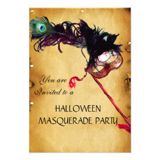HALLOWEEN-MASKERADE-PARTY, Pergament-uAwg Ankündigungskarte