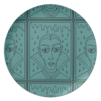 Halloween-Maskerade Vlad Dracula Lineart Entwurf Melaminteller