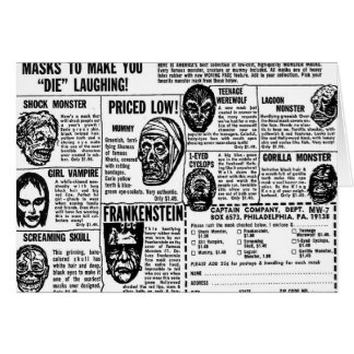 Halloween maskiert Retro Vintages Kitsch-Monster Karte