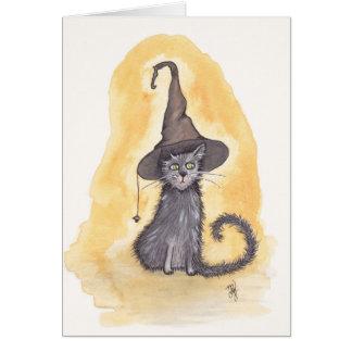 Halloween-Miezekatze-Hexe Grußkarte