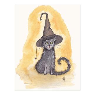 Halloween-Miezekatze-Hexe Postkarte