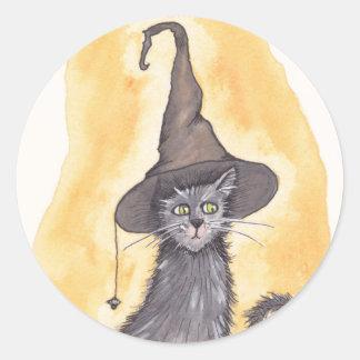 Halloween-Miezekatze-Hexe Runder Aufkleber