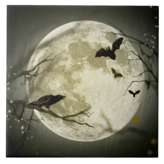 Halloween-Mond-gespenstische Krähen Fliese